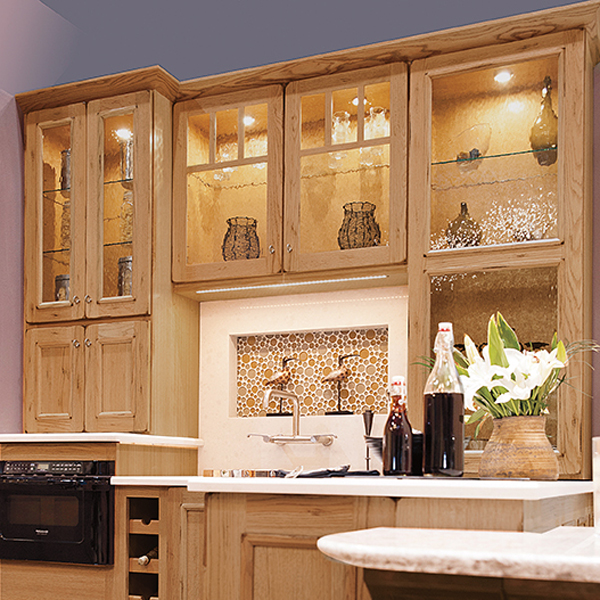 Glass cabinets with light wooden frames