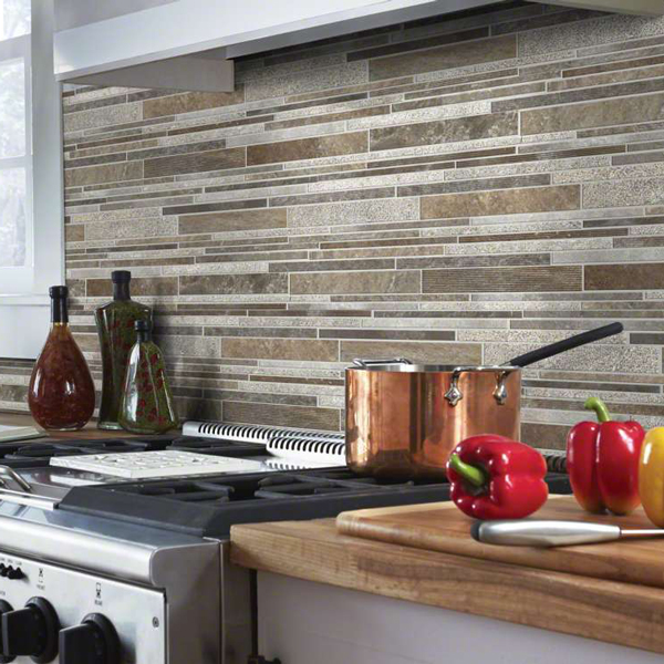 Multi-colored backsplash kitchen tile