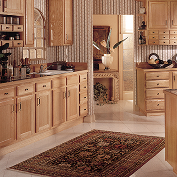 Ornate area rug in kitchen