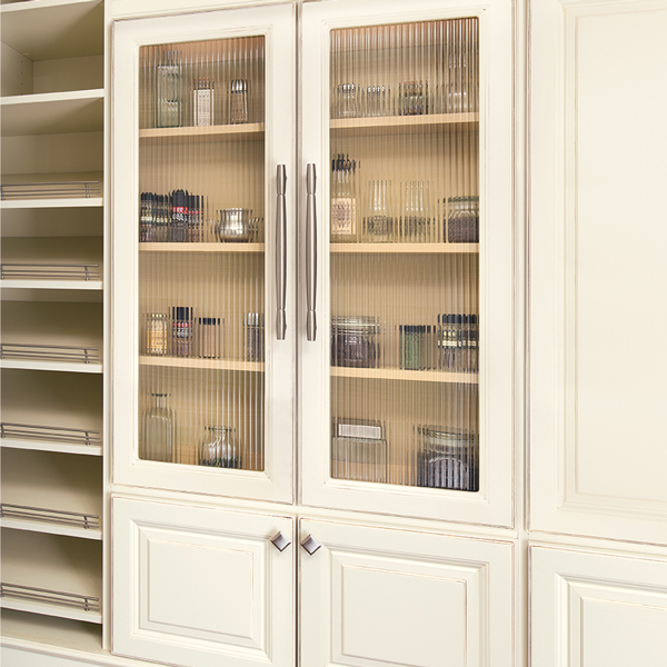 Ivory cabinets with glass